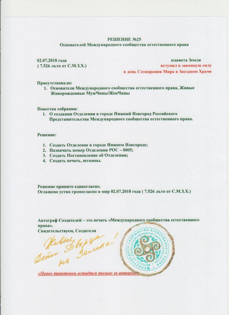 Решение №25 - Нижний Новгород